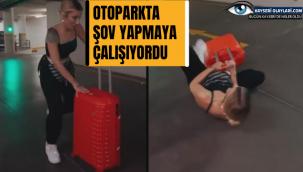 Otoparkta şov yapmaya çalışan İrem Derici, yere kapaklandı